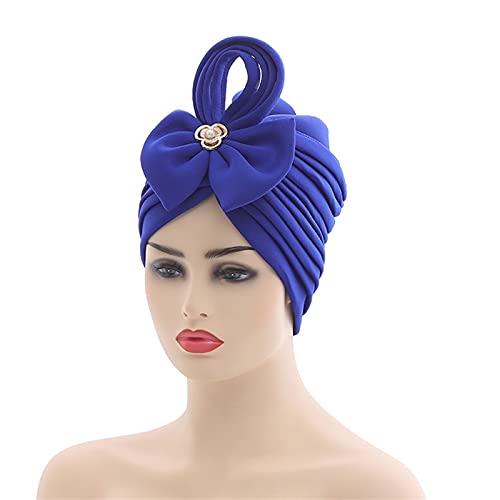 2021 Nuevo Africano Auto Headtie Nigeria Boda Musulmana Turbante Cap Árabe India Sombrero Mujer Envolturas (Color: 5)