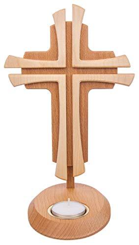 Motivationsgeschenke Stehkreuz Holz 2-farbig Buchenholz Ahorn 24 cm Teelichthalter Handarbeit