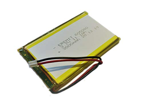EREMIT Lithium Polymer LiPo Batterie Akku 3000mAh 3.7V 605080 1S PCB BMS JST Stecker 58