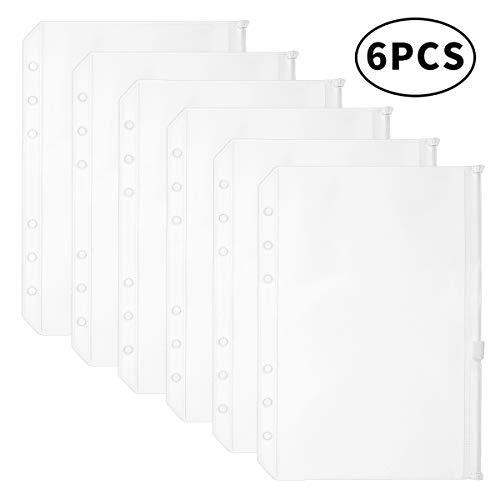 YoeeJob A5 Clear PVC Zipper Binder Pockets Insert 6 Holes Loose Leaf Bags Zipper Envelopes Organizers, Pack of 6