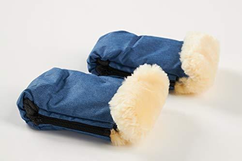 Handschuhe für den Kinderwagen mit Schaffell-Manschette und Fleece Innenfutter, grau & linear blau, Kälteschutz, Fäustlinge, Lammwolle,wärmend, Windschutz