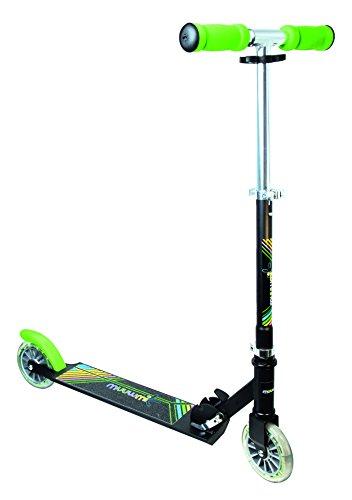 authentic sports & toys GmbH Aluminium Scooter Muuwmi NEON 125 mm, mit Leuchtrollen, schwarz/grün