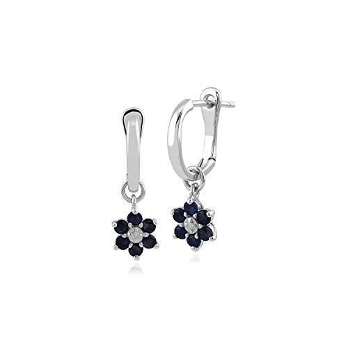Gemondo Damen-Ohrringe, 375 Gold, 9 Karat Weißgold, runder Saphir und Diamant, florales Design, Blau