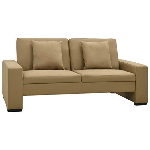 vidaXL Schlafsofa Sofa Couch Sofabett Schlafcouch Polstersofa Gästebett Lounge Wohnzimmersofa Ledersofa Bettsofa Bettcouch Cappuccino-Braun Kunstleder