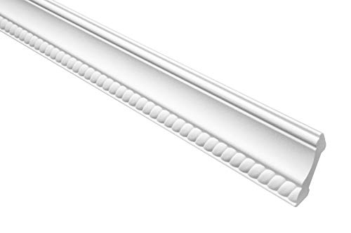 Marbet Deckenleiste B-07 weiß aus Styropor EPS - Stuckleisten gemustert, im traditionellen Design - (30 Meter Sparpaket) Styroporprofil Winkelprofil Wandprofil