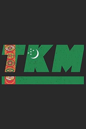 TKM: Turkmenistan Notizbuch mit punkteraster 120 Seiten in weiß. Notizheft mit der turkmenischen Flagge