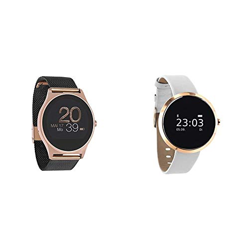 X-WATCH 54030 JOLI XW PRO - Smartwatch Damen iOS / Android - Fitnessuhr mit WhatsApp Info Samtschwarz & 54008 SIONA XW FIT Damen Smartwatch, Activity Tracker für Android und Apple iOS pure polar weiß