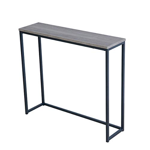 Roomfitters Sofa Console Table Top Metal Frame Accent Narrow Foyer Hall Table, Weathered Gray