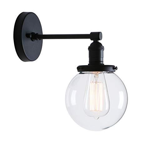 Phansthy innen Modernes runde klarglas Wandbeleuchtung Wandleuchten Vintage Industrie Loft-Wandlampen Antik Deko Design Wandbeleuchtung Küchenwandleuchte im Landhausstil (Schwarz Farbe)