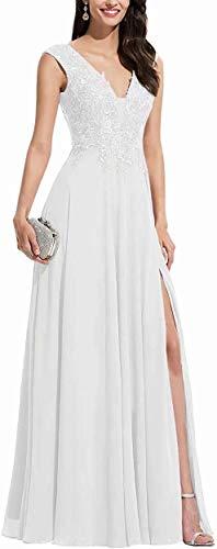 Aurora dresses Damen Chiffon Abendkleider Ballkleid Elegant für Hochzeit Brautkleid V-Ausschnitt Appliques Brautjungfern Kleider(Weiß,44)