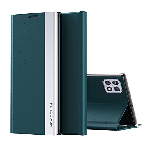Galaxy A22 5G Funda, Midcas Ultra-Delgado Cierre Magnético Flip Cover Piel sintética Carcasa con Soporte Plegable para Samsung Galaxy A22 5G Verde