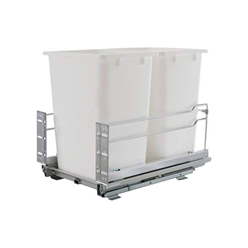 Rok Kitchen Cabinet Smooth Soft Close Double 36 Qt. Heavy Duty Waste Recycle Bin Trash Can Pull Out Organizer Container