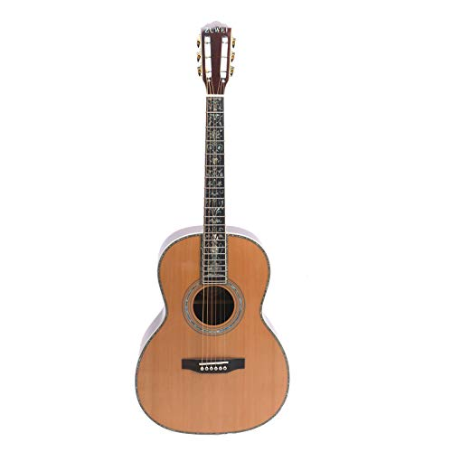 ZUWEI 39in Handmade Acoustic Guitar Solid Red Spruce Top,Rosewood Backside Real Abalone Inlay, Ebony Fingerboard Lower Action Bone Nut& Saddle Free Hardcase Gloss Finish Gold Hardware