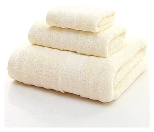 Beapet Toallas de bambú Conjuntos de baño de 3 Amarillos, lujosas Premium de Lujo y colección de SPA Hoja de baño hogar, baños, Piscina y Gimnasio (Color : White)