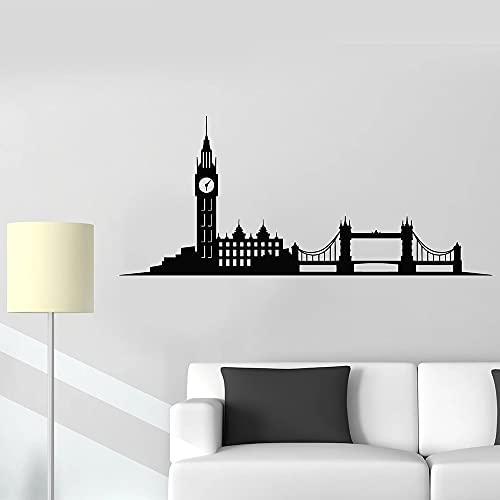 Pegatinas de pared de construcción Big Ben London Street Inglaterra Reino Unido pegatinas de vinilo para ventanas decoración moderna para el hogar pegatinas de pared A2 57x24cm