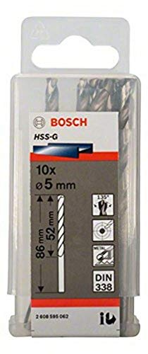 Bosch HSS-G Broca para metal profesional rectificada (10 piezas, Ø 5 mm)