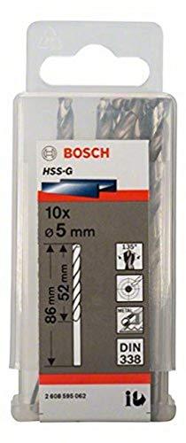 Bosch 2608595062 Din338 HSS-G Metal Drill Bit, 5.0mm x 52mm x 86mm, Silver