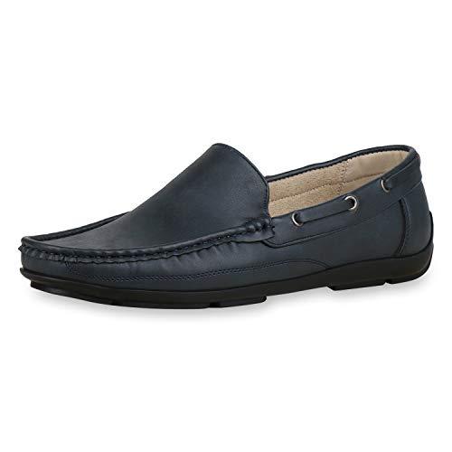 SCARPE VITA Herren Mokassins Bequeme Freizeit Slippers Leder-Optik Schuhe Slip On Schlupfschuhe Profilsohle 181134 Dunkelblau Blue Total 41