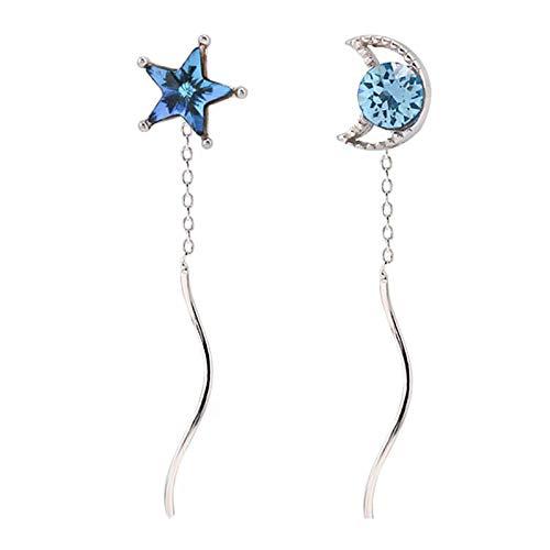 s925 pendientes de plata de temperamento dulce circonita azul estrella luna ola borla asimétrica estrella pendientes de luna