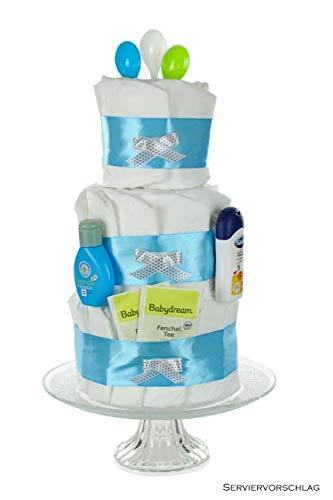 Windeltorte Junge blau - Geschenk zur Geburt,Taufe und Babyparty - Einzigartige Windeltorten von dubistda