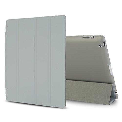 Besdata iPad 2 3 4 Hülle Smart Cover Schutz Hülle Leder Tasche Etui für Apple iPad Ständer Sleep Wake mit Bildschirmschutzfolie Reinigungstuch Stift Grau