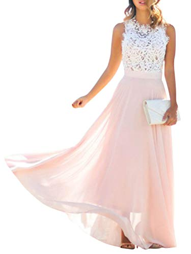Minetom Rosa Rose Weiße Spitze Drapierte Rundhals Ärmellos Abendkleid Partei Festliche Maxikleid Günstig Brautjungfernkleid B Rosa 34