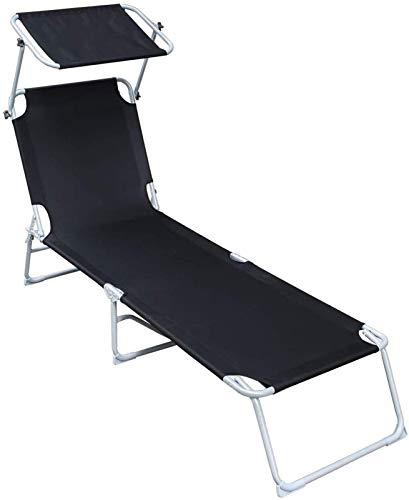 Ligstoel klapbaar Tuinstoel Verstelbaar, Ligstoel, zonnebank, liggende zon stoel, met schuifdak, verstelbare rugleuning, opvouwbaar, 189 x 55 x 27 cm, laadvermogen 110 kg voor vakantie tuin lounge (kl