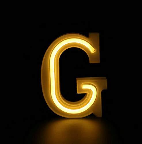 DKZ Alphabet-LED-Buchstaben-Leuchten-Zeichen-Lichtschildzeichen, 26 Alphabet-Alphabet-Leuchten LED-Digital-Leuchten, Batteriestab-Hochzeitsbar-Batterien am Schlafzimmer,G