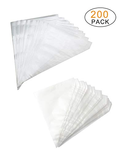 SBYURE 200 Pcs Disposable Cream Pastry Bag Cake Icing Piping Decorating Tool Cupcake Decorating Bags for Baking Supplies,Cupcakes,DIY Cake Decoration Supplies,2 Size