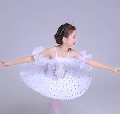 ZYLL Kinderballett Tutu Dress Swan Lake Multicolor Ballett Kostüme Kids Girl Ballett Dress,White,160CM