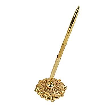 LORJE Hollow Round Pen Holder Signing Pen Set for Wedding Bridal Golden