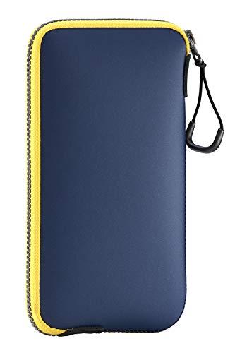 ONEJOY Handytasche, wasserdichte Hülle, Beuteltasche, Sporttasche Mini, Sporttaschen mit Reißverschluss, AJ10–5778, Marineblau mit gelbem Reißverschluss, 17 cm x 9 cm, für Handy
