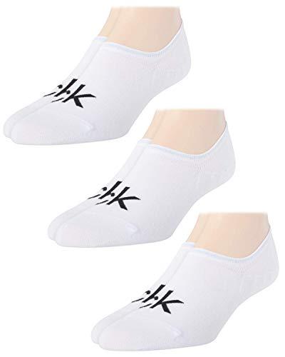 Calvin Klein Men's 3 Pair Logo Sneaker Liner Socks, White, Shoe Size 7-12