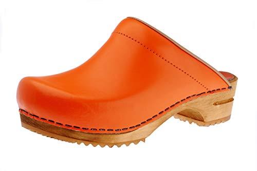 Sanita Lotte | Open Klomp | Origineel Handgemaakt Product voor Dames | Anatomisch gevormd voetbed met zacht schuim | Oranje | 39