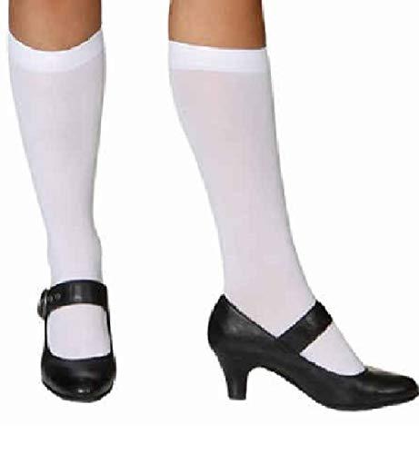 narrenkiste O41033 weiß Damen Kniestrümpfe Schotten Kostüm