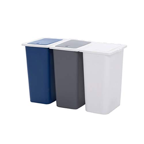 Papelera Caja de reciclaje Papelera de plástico ligero Triple papelera de reciclaje con la etiqueta modificable Contenedor de basura bote de basura y de reciclaje de contenedores Cubo de Basura