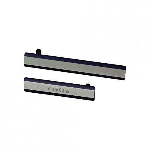 SKILIWAH - para Sony Xperia Z2 Conjunto de Tapa Lateral, Cubierta Antipolvo, Tapa de USB/SIM/SD, Repuestos - Negro