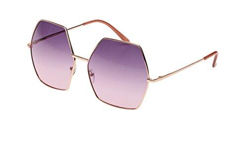 Revive Eyewear - Gafas de sol para mujer, diseño hexagonal Morado Purple /Gold
