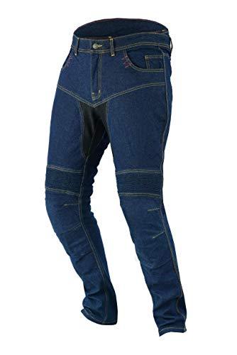 "JET Pantalon Moto Hombre Jeans Kevlar Aramid Con Armadura TECH PRO (64 Largo/Cintura 48"" Longitud 34""(7XL), Azul)"