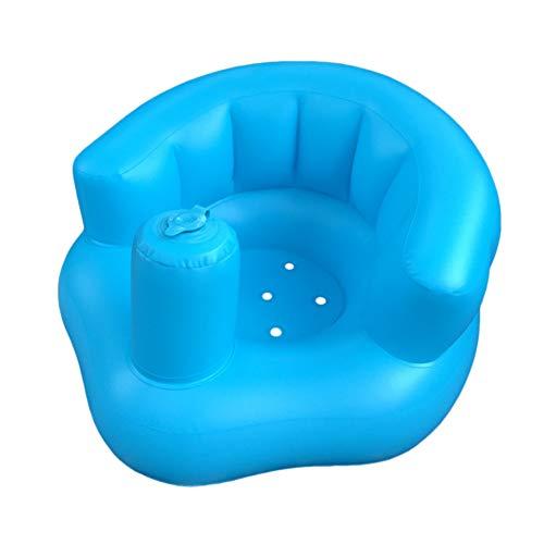 Rachlicy Asiento Inflable del Bebé Bebé Aprendizaje Asiento Multi Función Asiento Inflable Asistencia Piscina Flotador Sofá Pequeño Silla De Comedor Portátil Taburete para Niños (Azul)