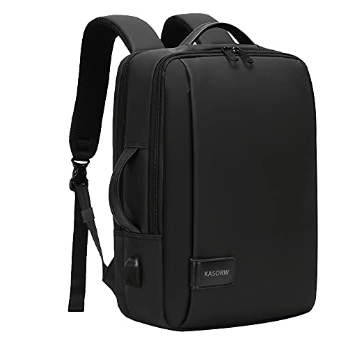 KASORW ビジネスリュック 3way リュック pc リュックサック メンズ ビジネスバッグ バックパック 手提げ パソコン バッグ 15.6インチ USB充電ポート デイパック 軽量 大容量 防水 通勤 通学 旅行 出張 (黒い)