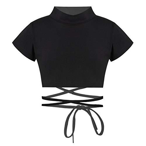 Yeahdor Mädchen Crop Top Tanz Ballett Shirt Sport T-Shirt Kurzarm/Langarm Bauchfrei Oberteil Sommer Shirt Unterhemd für Fitness Tanz Gr. 86-164 Schwarz mit Schnür 146-152
