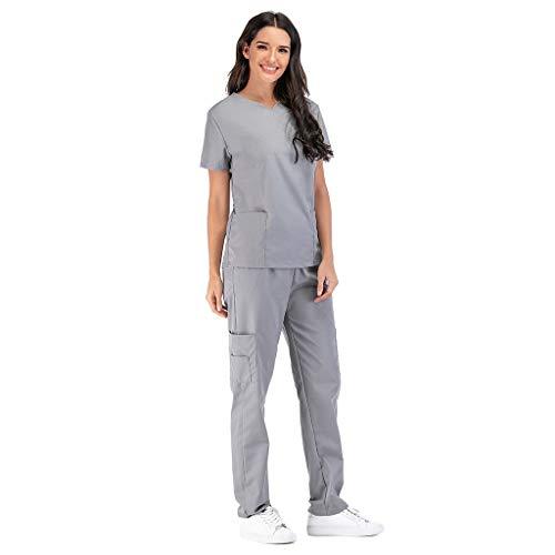 Zilosconcy Arbeitskleidung Kurzarm T-Shirts V-Ausschnitt + Hosen Pflege Set Unisex Medizin Arzt Berufsbekleidung mit Tasche Krankenschwester Kleidung Damen Uniformen Oberteil GrauL