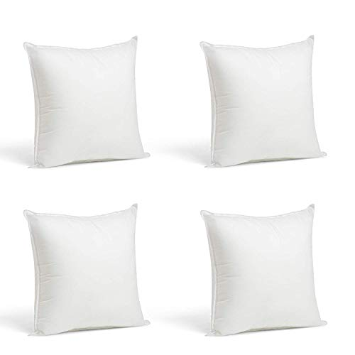 4 Rellenos cojines sofa hipoalergénicas + 4 fundas cojines lisos decoracion y para almohadas de cama 45x45cm