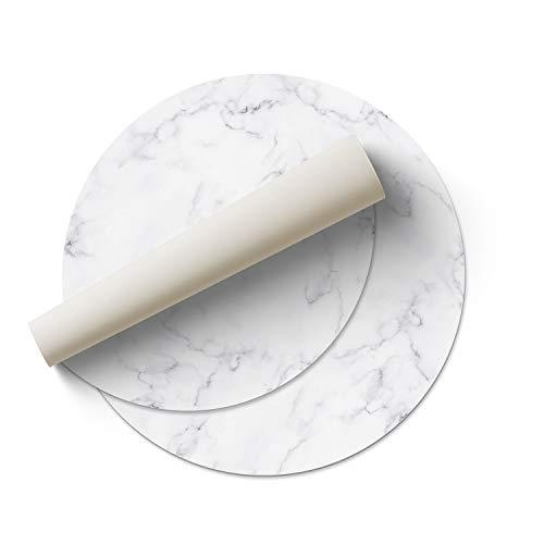 DON LETRA Alfombra Vinílica Redonda para Salón, Dormitorio, Cocina y Oficina - Mármol Blanco - 100cm de Diámetro - 2mm de Grosor - Material Impermeable y Lavable, ALV-017