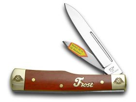 Frost Family 40th Anniversary Dark Red Smooth Bone 1/600 Gunstock Pocket Knife Knives