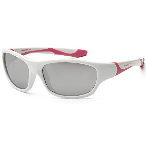 koolsun Niños Gafas de sol Sport 3 – 6 años, White & Cabaret + Silver REVO lente | 100% protección UV | Optical Clas 1, cat. 3