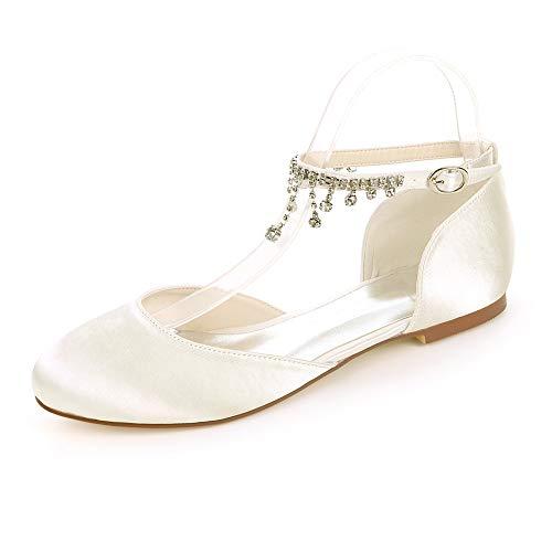 MNVOA Weiße Brautschuhe Satin Runde Toe Strass Slip auf Flache Hochzeitsschuhe,Elfenbein,EU38