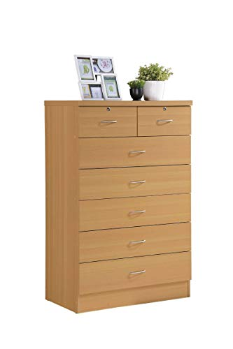 Hodedah 7 Drawer Chest Five Large Drawers Two Smaller Drawers with Two Locks Beech