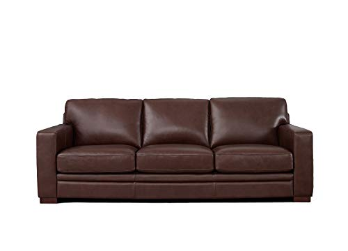 Hydeline Dillon 100% Leather Sofa Couch, 96', Brown